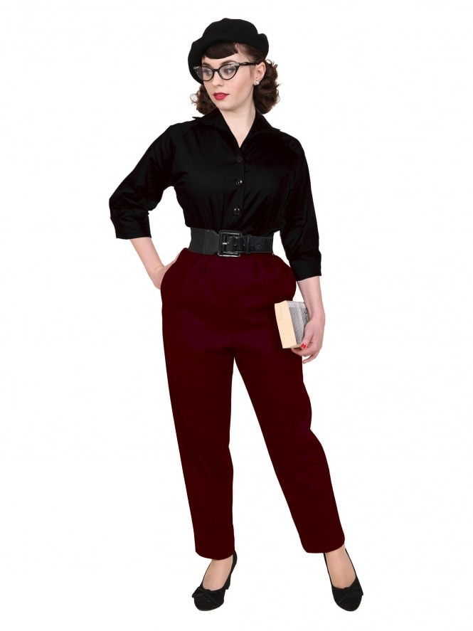 1950s Trousers Burgundy Flannel
