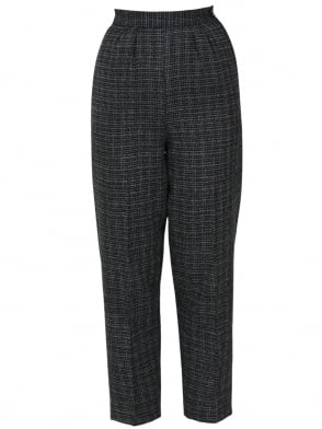 1950s Trousers Check Black