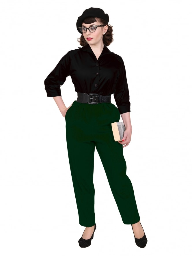 1950s Trousers Green Flannel