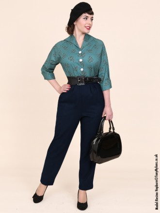 1950s Trousers Navy Flannel From Vivien Of Holloway