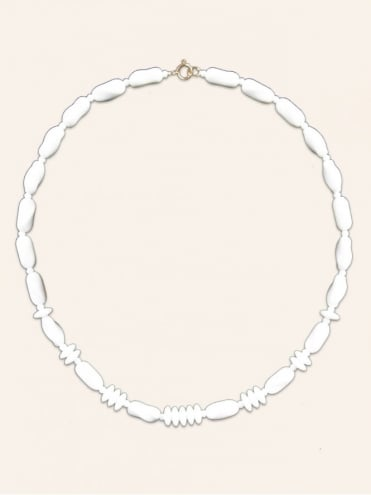 Art Deco Style White Glass Bead Necklace