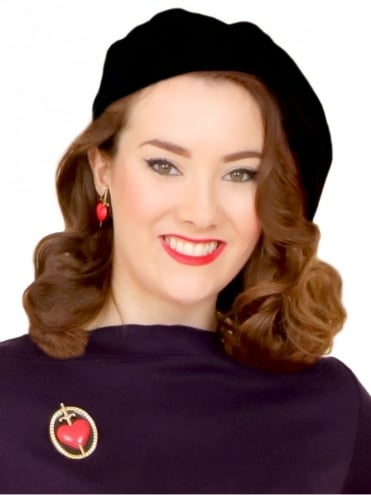 1940s 1950s Vintage Reproduction Beret Black Wool Vivien of Holloway Film Noir