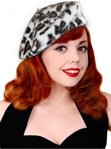 Beret - White Brown Leopard