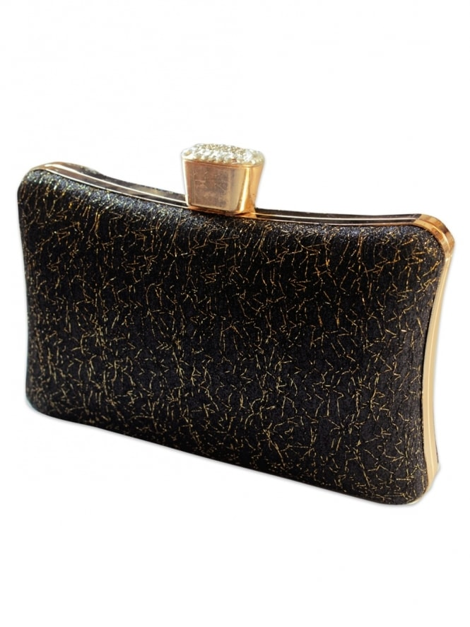 Black and Gold confetti Evening Clutch