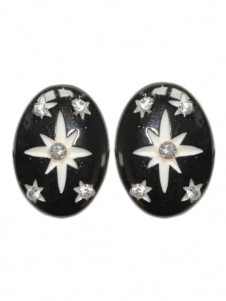 Black Starburst Clip on Earrings