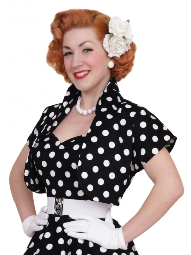 50s-1950s-40s-1940s-Vivien-of-Holloway-Best-Vintage-Style-Reproduction-Repro-Bolero-Jacket-Black-White-Polka-Polkadot-Spot-Rockabilly-Swing-Pinup