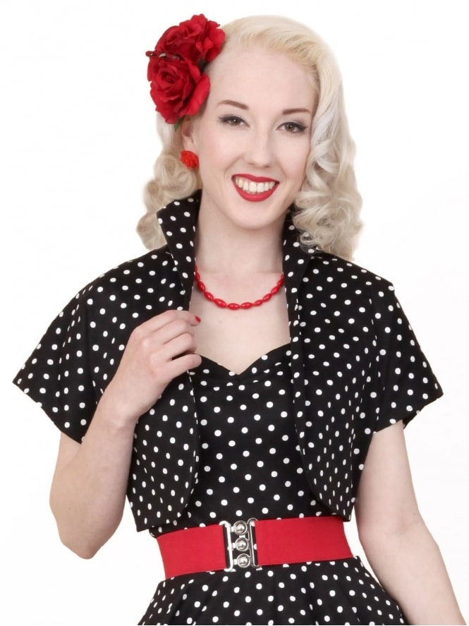 50s-1950s-40s-1940s-Vivien-of-Holloway-Best-Vintage-Style-Reproduction-Repro-Bolero-Jacket-Black-White-Spot-Rockabilly-Swing-Pinup