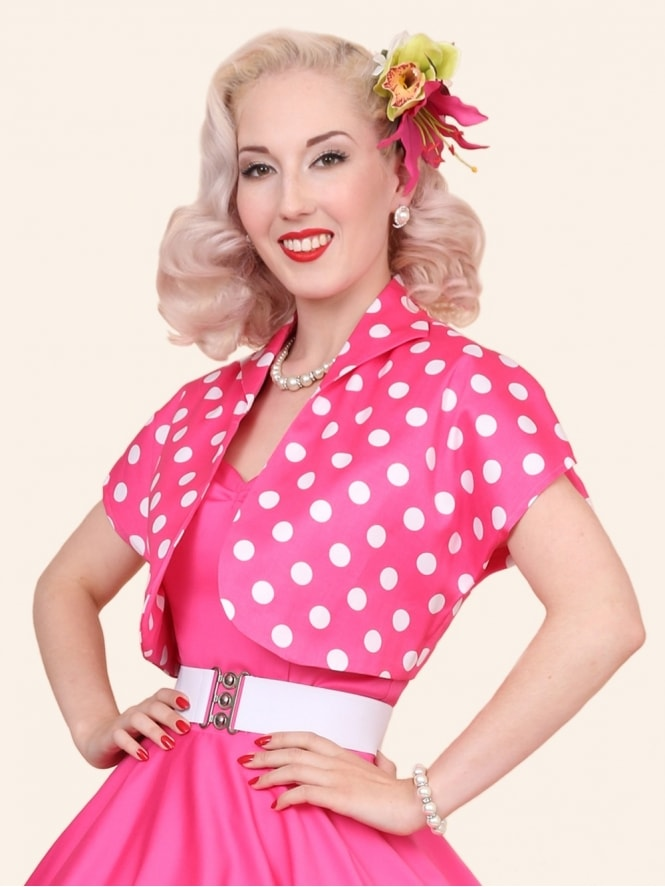 50s-1950s-40s-1940s-Vivien-of-Holloway-Best-Vintage-Style-Reproduction-Repro-Bolero-Jacket-Cerise-White-Pink-Polkadot-Spot-Rockabilly-Swing-Pinup