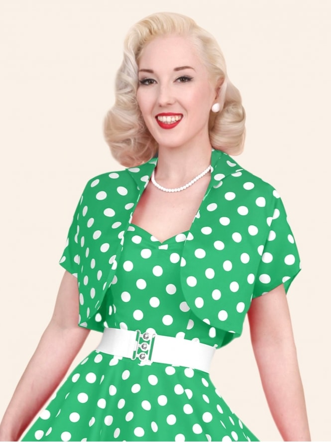 50s-1950s-40s-1940s-Vivien-of-Holloway-Best-Vintage-Style-Reproduction-Repro-Bolero-Jacket-Green-White-Polkadot-Spot-Rockabilly-Swing-Pinup