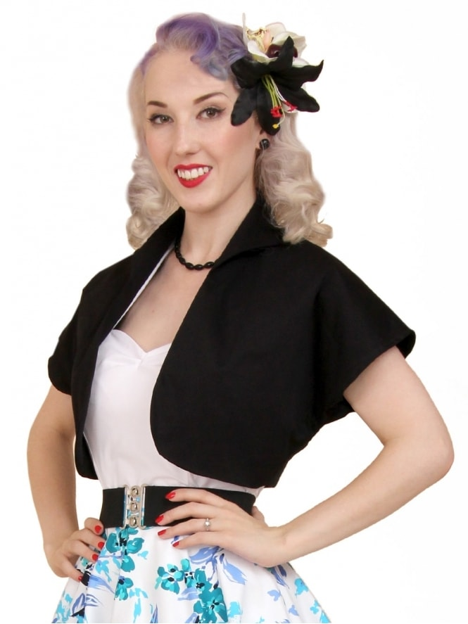 50s-1950s-40s-1940s-Vivien-of-Holloway-Best-Vintage-Style-Reproduction-Repro-Bolero-Jacket-Black-Sateen-Cotton-Rockabilly-Swing-Pinup