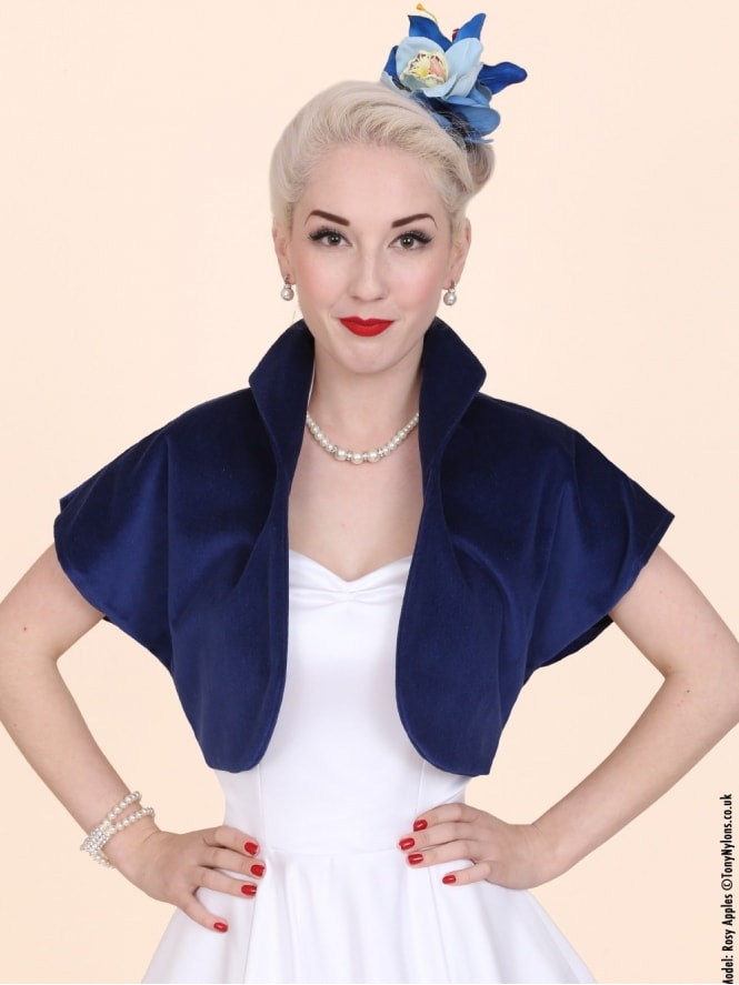 50s-1950s-40s-1940s-Vivien-of-Holloway-Best-Vintage-Style-Reproduction-Repro-Bolero-Jacket-Blue-Velvet-Rockabilly-Swing-Pinup
