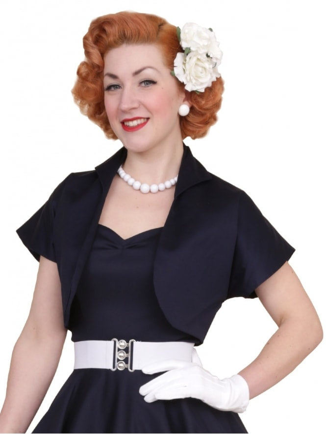 50s-1950s-40s-1940s-Vivien-of-Holloway-Best-Vintage-Style-Reproduction-Repro-Bolero-Jacket-Navy-Sateen-Blue-Cotton-Rockabilly-Swing-Pinup
