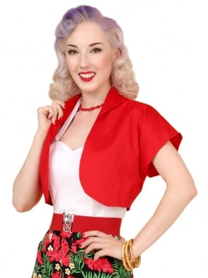 Bolero Plain Red Sateen