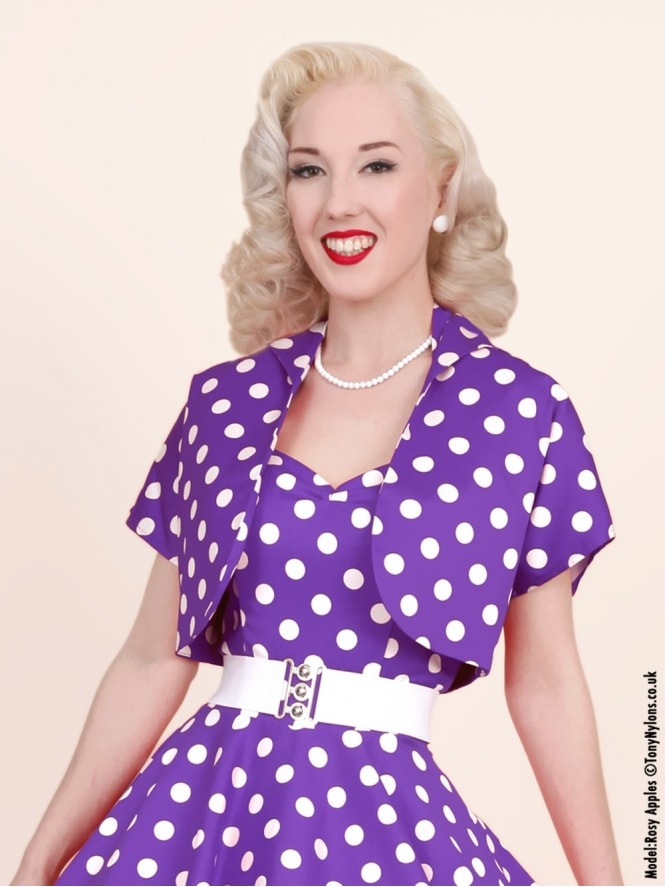 50s-1950s-40s-1940s-Vivien-of-Holloway-Best-Vintage-Style-Reproduction-Repro-Bolero-Jacket-Purple-White-Polkadot-Spot-Rockabilly-Swing-Pinup