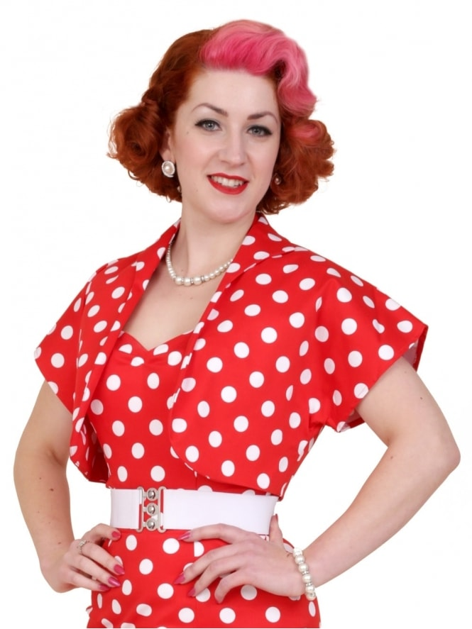 50s-1950s-40s-1940s-Vivien-of-Holloway-Best-Vintage-Style-Reproduction-Repro-Bolero-Jacket-Red-White-Polka-Polkadot-Spot-Rockabilly-Swing-Pinup