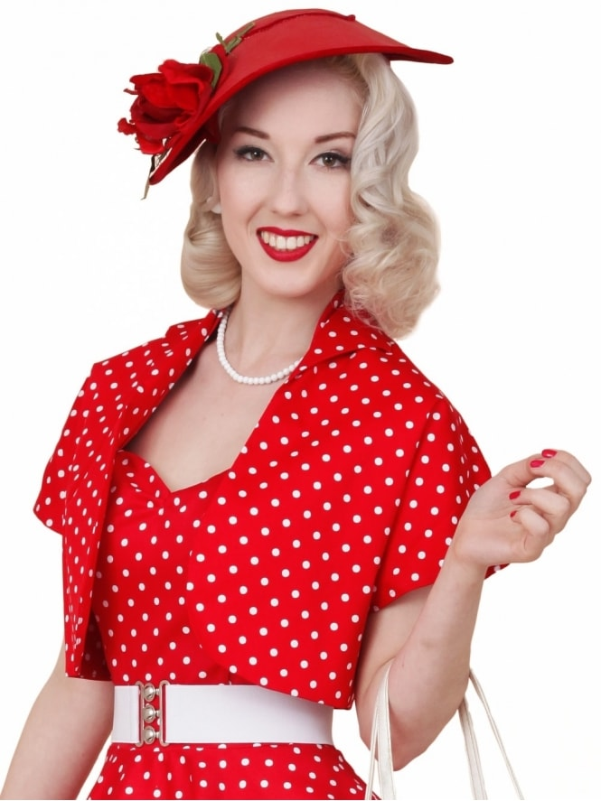 50s-1950s-40s-1940s-Vivien-of-Holloway-Best-Vintage-Style-Reproduction-Repro-Bolero-Jacket-Red-White-Spot-Rockabilly-Swing-Pinup