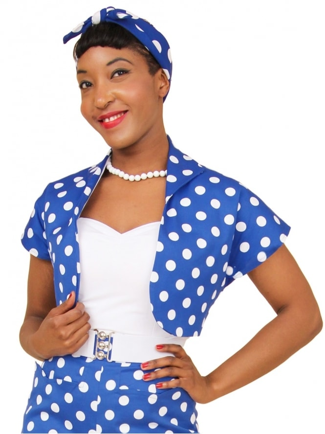 50s-1950s-40s-1940s-Vivien-of-Holloway-Best-Vintage-Style-Reproduction-Repro-Bolero-Jacket-Royal-White-Polka-Polkadot-Blue-Spot-Rockabilly-Swing-Pinup