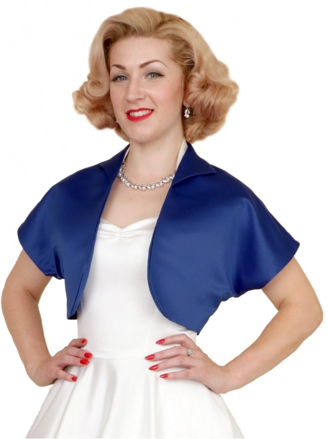 50s-1950s-40s-1940s-Vivien-of-Holloway-Best-Vintage-Style-Reproduction-Repro-Bolero-Jacket-Blueberry-Duchess-Satin-Blue-Rockabilly-Swing-Pinup