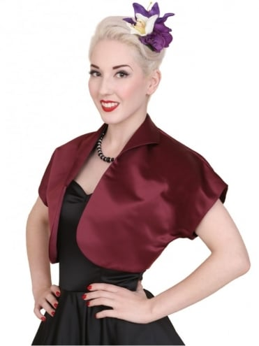 50s-1950s-40s-1940s-Vivien-of-Holloway-Best-Vintage-Style-Reproduction-Repro-Bolero-Jacket-Claret-Duchess-Satin-Dark-Red-Rockabilly-Swing-Pinup