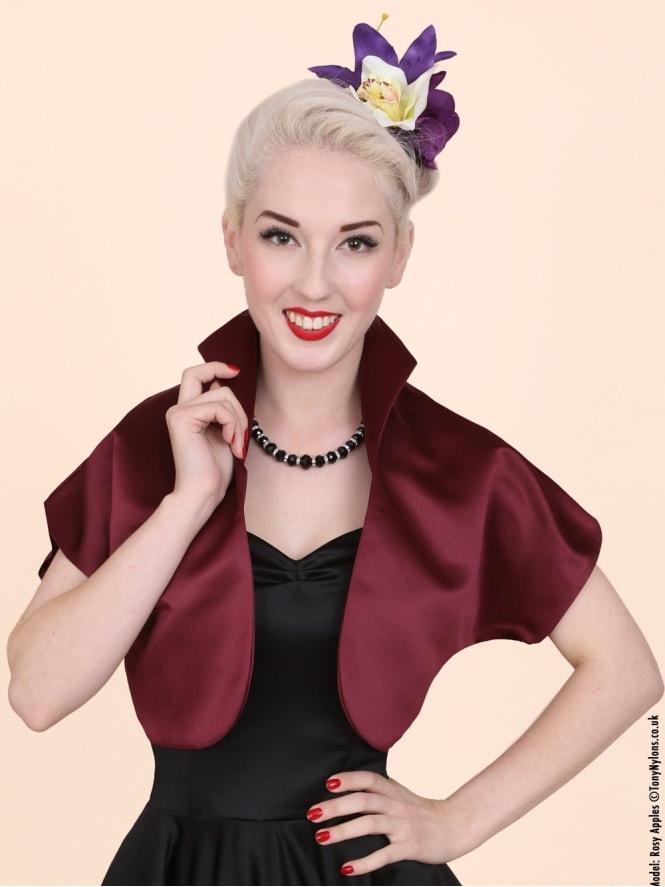 50s-1950s-40s-1940s-Vivien-of-Holloway-Best-Vintage-Style-Reproduction-Repro-Bolero-Jacket-Claret-Duchess-Satin-Dark-Red-Rockabilly-Swing-Pinup