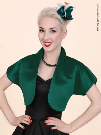 50s-1950s-40s-1940s-Vivien-of-Holloway-Best-Vintage-Style-Reproduction-Repro-Bolero-Jacket-Dark-Green-Duchess-Satin-Rockabilly-Swing-Pinup