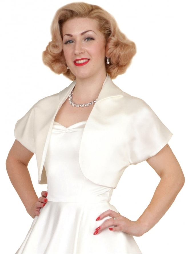 50s-1950s-40s-1940s-Vivien-of-Holloway-Best-Vintage-Style-Reproduction-Repro-Bolero-Jacket-Ivory-Duchess-Satin-Rockabilly-Swing-Pinup