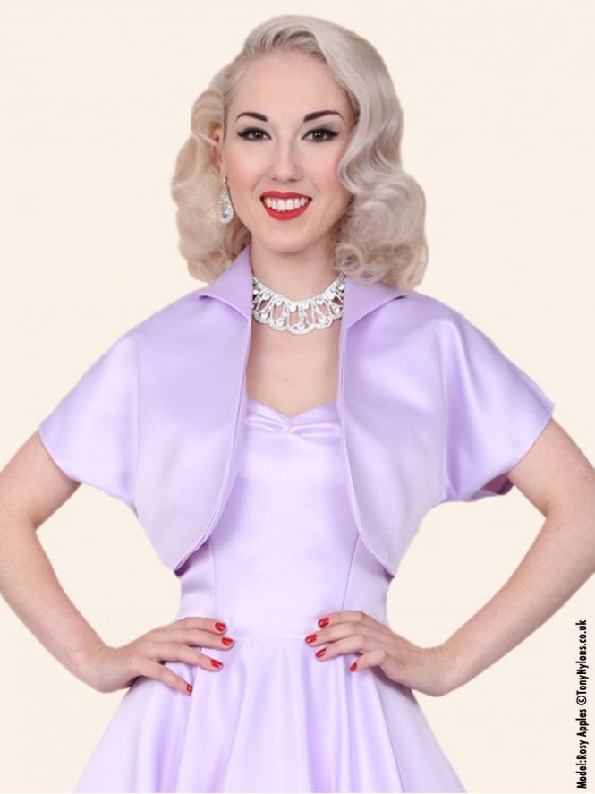50s-1950s-40s-1940s-Vivien-of-Holloway-Best-Vintage-Style-Reproduction-Repro-Bolero-Jacket-Lilac-Duchess-Satin-Purple-Rockabilly-Swing-Pinup