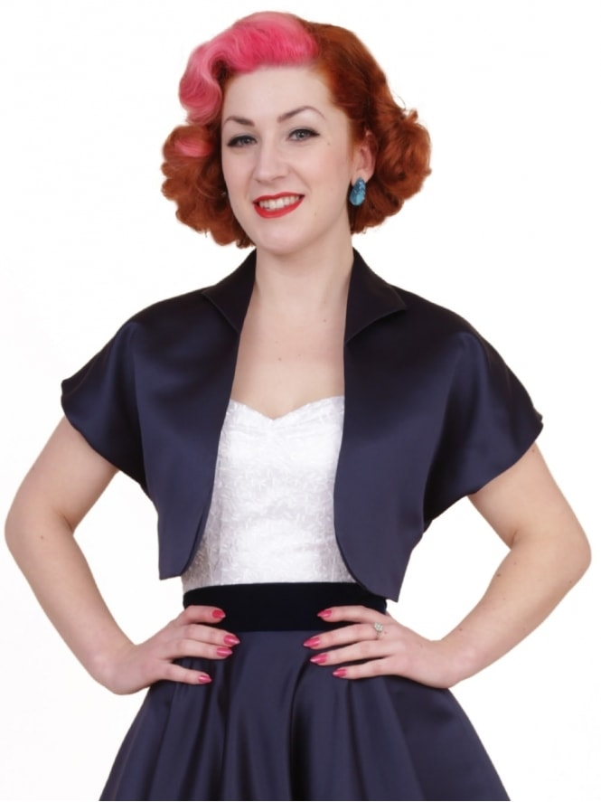 50s-1950s-40s-1940s-Vivien-of-Holloway-Best-Vintage-Style-Reproduction-Repro-Bolero-Jacket-Navy-Duchess-Satin-Blue-Rockabilly-Swing-Pinup