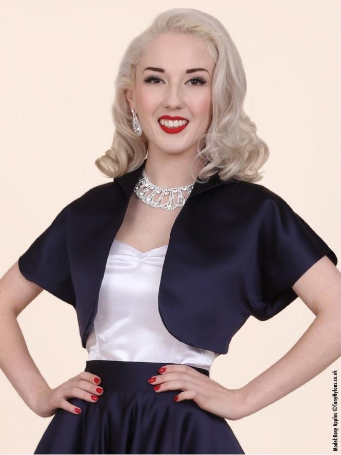 50s-1950s-40s-1940s-Vivien-of-Holloway-Best-Vintage-Style-Reproduction-Repro-Bolero-Jacket-Navy-Duchess-Satin-Blue-Rockabilly-Swing-Pinup