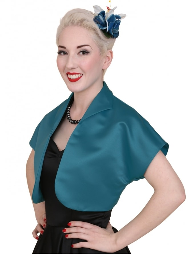 50s-1950s-40s-1940s-Vivien-of-Holloway-Best-Vintage-Style-Reproduction-Repro-Bolero-Jacket-Petrol-Duchess-Satin-Rockabilly-Swing-Pinup
