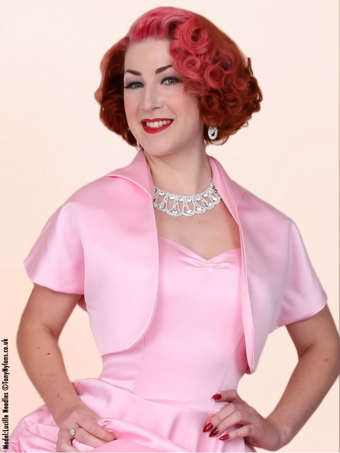 50s-1950s-40s-1940s-Vivien-of-Holloway-Best-Vintage-Style-Reproduction-Repro-Bolero-Jacket-Pink-Duchess-Satin-Rockabilly-Swing-Pinup