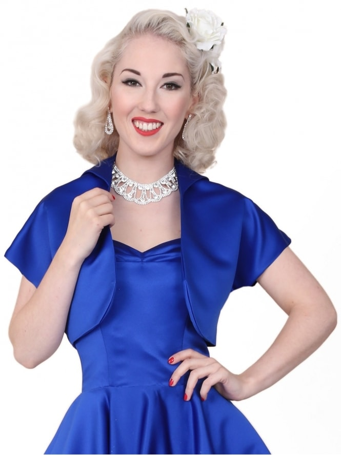 50s-1950s-40s-1940s-Vivien-of-Holloway-Best-Vintage-Style-Reproduction-Repro-Bolero-Jacket-Royal-Duchess-Satin-Blue-Rockabilly-Swing-Pinup