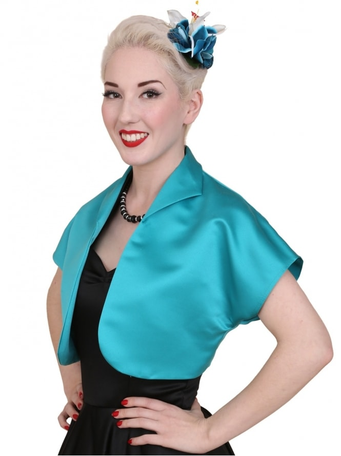 50s-1950s-40s-1940s-Vivien-of-Holloway-Best-Vintage-Style-Reproduction-Repro-Bolero-Jacket-Turquoise-Duchess-Satin-Rockabilly-Swing-Pinup