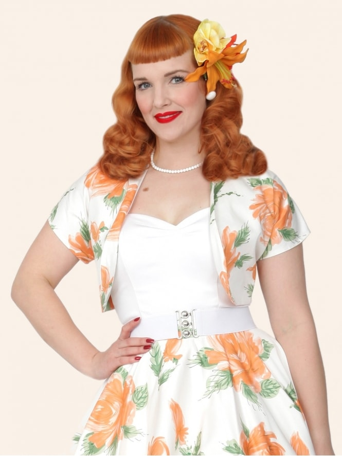 50s-1950s-40s-1940s-Vivien-of-Holloway-Best-Vintage-Style-Reproduction-Repro-Bolero-Jacket-Victory-Rose-Peach-Floral-Print-Rockabilly-Swing-Pinup