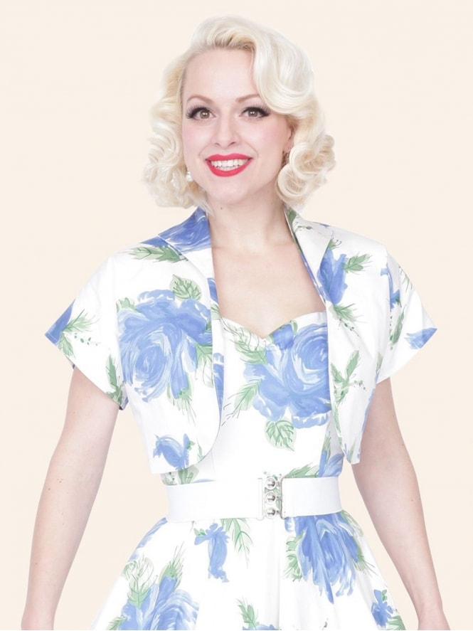50s-1950s-40s-1940s-Vivien-of-Holloway-Best-Vintage-Style-Reproduction-Repro-Bolero-Jacket-Victory-Rose-Royal-Blue-Floral-Print-Rockabilly-Swing-Pinup