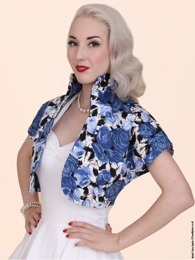 50s-1950s-40s-1940s-Vivien-of-Holloway-Best-Vintage-Style-Reproduction-Repro-Bolero-Jacket-Wild-Rose-Royal-Blue-Floral-Print-Rockabilly-Swing-Pinup