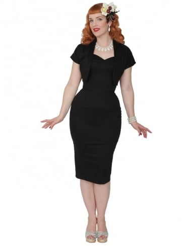 50s-1950s-Vivien-of-Holloway-Best-Vintage-Reproduction-Bombshell-Pencil-Wiggle-Dress-Black-Cotton-Sateen-Rockabilly-Swing-Pinup