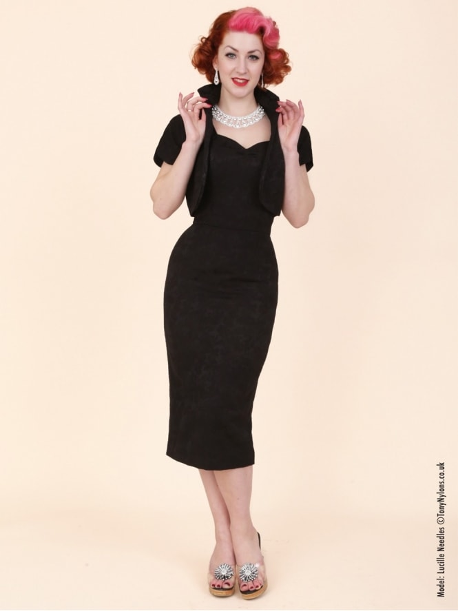 50s-1950s-Vivien-of-Holloway-Best-Vintage-Reproduction-Bombshell-Pencil-Wiggle-Dress-Jacquard-Black-Floral-Rockabilly-Swing-Pinup