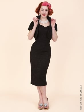 Bombshell Jacquard Black Dress