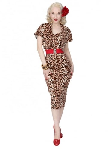 50s-1950s-Vivien-of-Holloway-Best-Vintage-Reproduction-Bombshell-Pencil-Wiggle-Dress-Leopard-Brown-Animal-Print-Rockabilly-Swing-Pinup