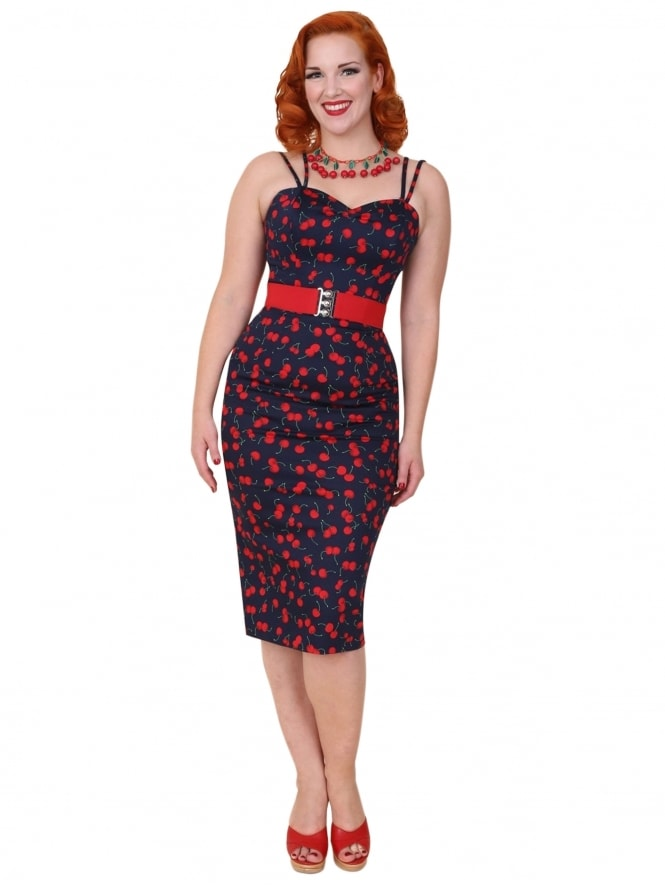 Bombshell Navy Cherry Dress