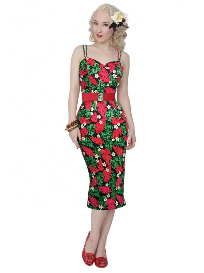 50s-1950s-Vivien-of-Holloway-Best-Vintage-Reproduction-Bombshell-Pencil-Wiggle-Dress-Red-Palm-Floral-Tropical-Print-Rockabilly-Swing-Pinup