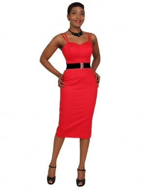 Bombshell Red Sateen Dress