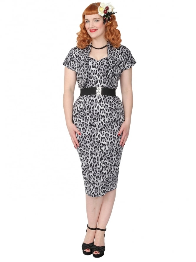 50s-1950s-Vivien-of-Holloway-Best-Vintage-Reproduction-Bombshell-Pencil-Wiggle-Dress-Silver-Leopard-Animal-Print-Rockabilly-Swing-Pinup