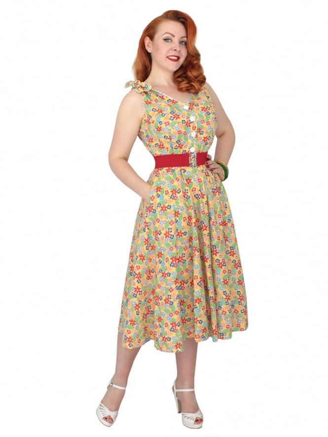 50s-1950s-Vivien-of-Holloway-Best-Vintage-Reproduction-Bonnie-Dress-Floral-Fiesta-Yellow-Sundress-Rockabilly-Swing-Pinup-Pinupgirl-Pinupgirldress-Heart-Shaped-Pocket