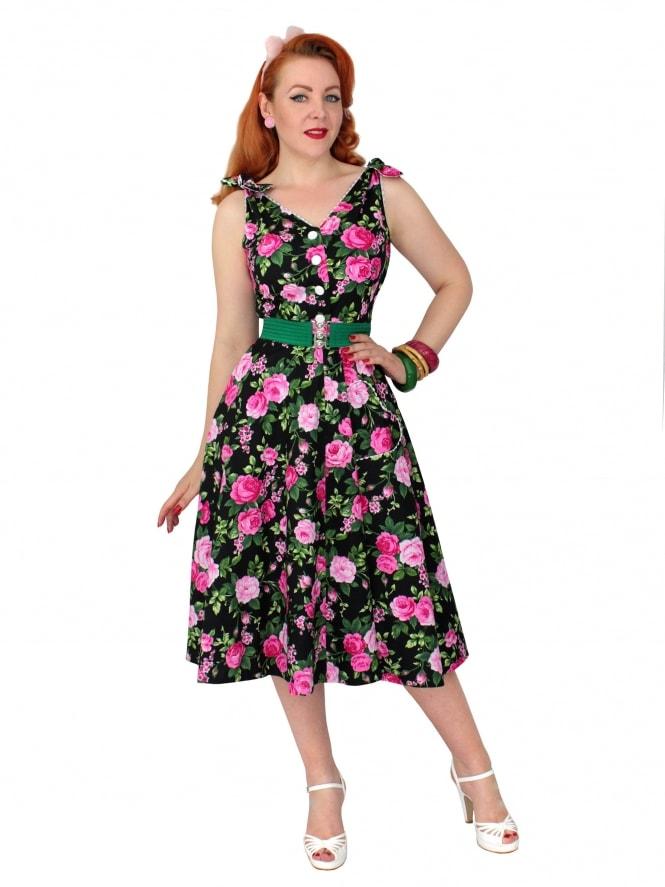 50s-1950s-Vivien-of-Holloway-Best-Vintage-Reproduction-Bonnie-Dress-Rosa-Black-Floral-Sundress-Rockabilly-Swing-Pinup-Pinupgirl-Pinupgirldress-Heart-Shaped-Pocket