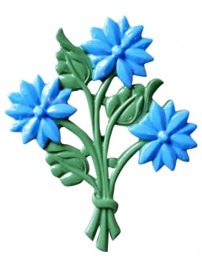 Bouquet of Flowers Brooch Blue