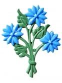Bouquet of Flowers Brooch Blue
