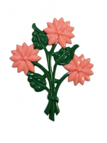 Bouquet of Flowers Brooch Pink