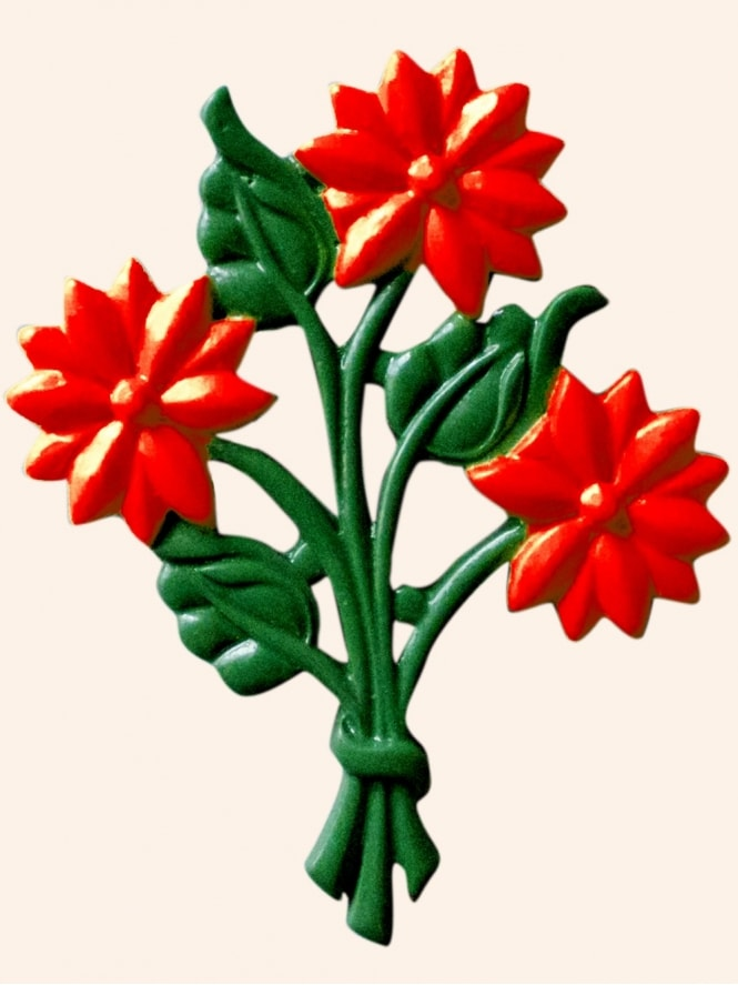 Bouquet of Flowers Brooch Red